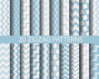 20 blue zigzag patterns. 20 different blue zigzag patterns,  vector, Textures for wallpaper, fills, web page background, surface Stock Photo