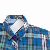 Blue zinc texture plaid shirt on white Royalty Free Stock Photos