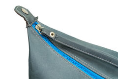 Blue zipper closed on a bag Stock Photography
