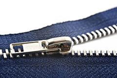 Blue zipper on white Royalty Free Stock Image
