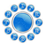 Blue zodiac button Royalty Free Stock Photo