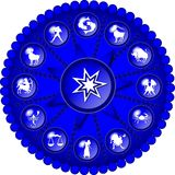 Blue zodiac disc. Illustration of a blue zodiac disc royalty free illustration