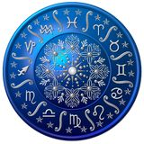 Blue zodiac disc. Illustrated blue floral zodiac disc with symbols royalty free illustration