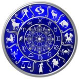 Blue Zodiac Disc with Signs and Symbols royalty free illustration