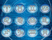 Blue zodiac signs. A collection or set of the 12 zodiac signs on a blue artistic background stock illustration