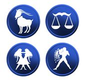 Blue zodiac signs - set 1 Royalty Free Stock Image