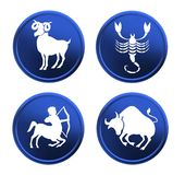 Blue zodiac signs - set 3 Royalty Free Stock Photography