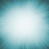 Blue zoom blur background with white center and radial sunshine rays. Bright white sunburst design on teal blue sunburst pattern background with white bokeh Stock Images