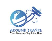Around travel related emblems, labels and design elements royalty free illustration
