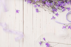 Bluebell flowers om wooden background Stock Photos