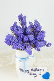 Bluebell flowers in vase and happy mothers day note Royalty Free Stock Image