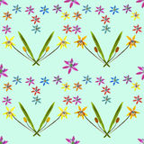Bluebell, scilla, primroses. Seamless pattern texture of flowers Royalty Free Stock Images