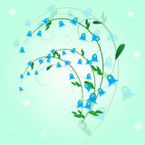 Harebell. Sprig of blue bells with leaves Stock Images
