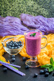 Blueberrie smoothie in a glass Stock Photos