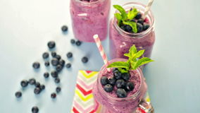 Blueberrie smoothie stock footage