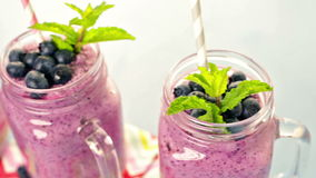 Blueberrie smoothie stock video