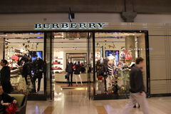 Burberry Store. Burberry  has evolved over 30 years bringing exclusive designer clothing, accessories and footwear brands Royalty Free Stock Photo
