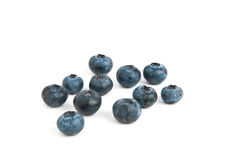 Blueberries. Several blueberries isolated on white Stock Photos