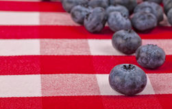 Blueberries. On a red checkered gingham tablecloth Royalty Free Stock Photo