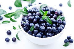 Blueberries. In white plate. on white bsckground Stock Images
