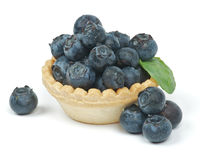 Blueberries. Fresh Raw Blueberries in basket isolated on white background Stock Images