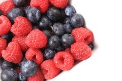 Blueberries ad raspberries Stock Images