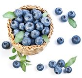 Blueberries in a basket Stock Images
