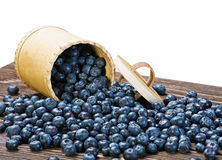 Blueberries in a basket is scattered on the wooden table Royalty Free Stock Images