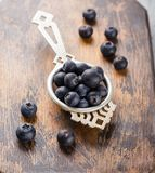 Blueberries in a small metal strainer Royalty Free Stock Photography