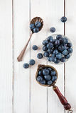 Blueberries or bilberries on a white wooden table Stock Image