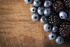 Blueberries and blackberries Stock Photography
