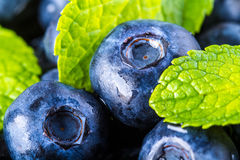 Blueberries. Blue blueberries and mint leaves on wooden table Stock Photography