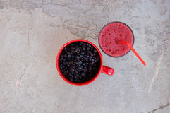 Blueberries and blueberry smoothie Stock Photos