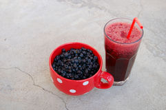 Blueberries and blueberry smoothie Stock Image