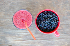 Blueberries and blueberry smoothie Royalty Free Stock Photography