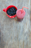Blueberries and blueberry smoothie Stock Images