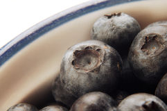 Blueberries in a bowl. Nice tight shot showing every detail Royalty Free Stock Images
