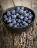 Blueberries in a bowl. On wooden ground Stock Images