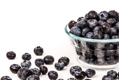 Blueberries in a bowl isolated on white Royalty Free Stock Photography