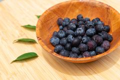 Blueberries in the bowl. On wooden table Stock Images