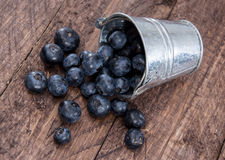 Blueberries in a bucket on wood Royalty Free Stock Images