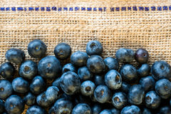 Blueberries on burlap background Stock Photos