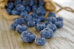 Blueberries in burlap bag Royalty Free Stock Photo