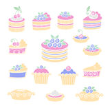 Blueberries cakes and pies Stock Images