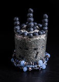 Blueberries chia pudding royalty free stock photo