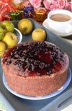 Blueberries chiffon cake Royalty Free Stock Photo