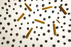 Blueberries and cinnamon sticks. Fresh whole blueberries with cinnamon sticks in abstraction on white Stock Photography