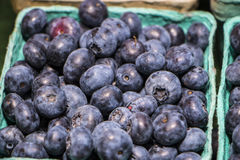Blueberries in Container. At Rochester Michigan Farmer's Market stock photo