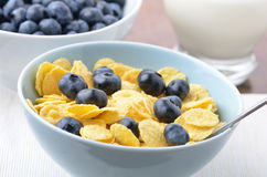 Blueberries and cornflakes Stock Photography