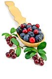 Blueberries and cowberry in a spoon with leaf Royalty Free Stock Photo